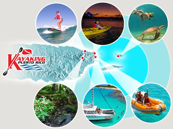 Kayaking Puerto Rico Tours, Puerto Rico Excursions and Puerto Rico Adventures map