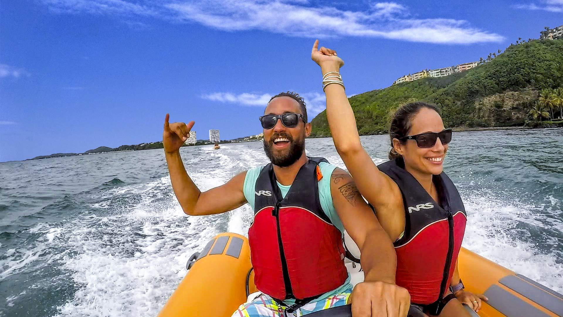 Man and woman enjoying the Snorkeling in Puerto Rico Mini Boat Tour of Kayaking Puerto Rico